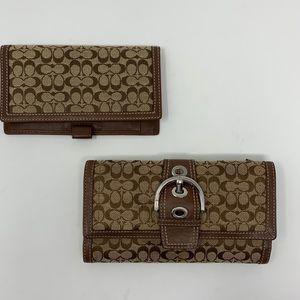 Coach Signature Buckle Canvas Leather Trim Wallet